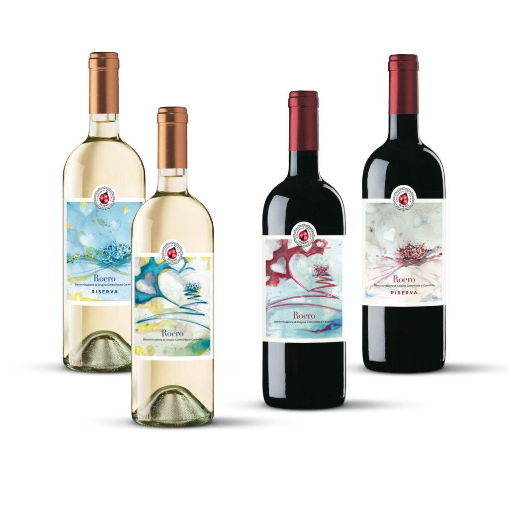 Bottiglie con etichette istituzionali Roero e Roero Riserva