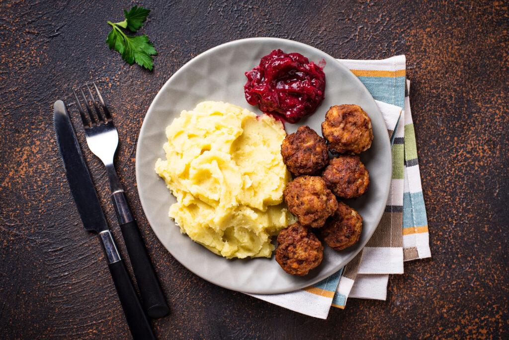 Traditional Swedish meatballs with mashed potato